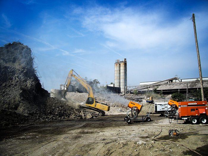 Dust Suppression at Aggregate Silo Demolition