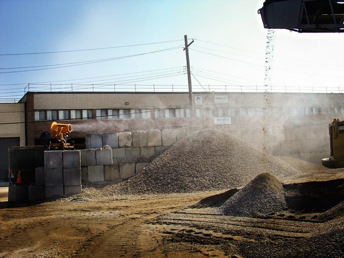 dust suppression at recycling transfer station