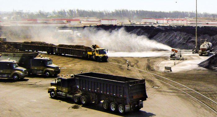 Petcoke Stockpile Dust Control at Port Terminal
