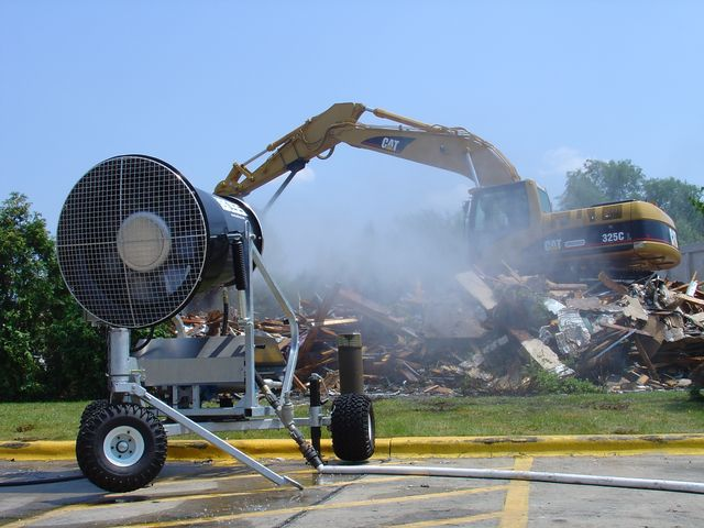Dust Control Fans : Automated demolition dust control