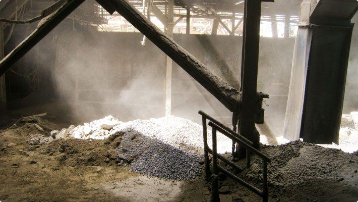 Interior of limestone crushing facility
