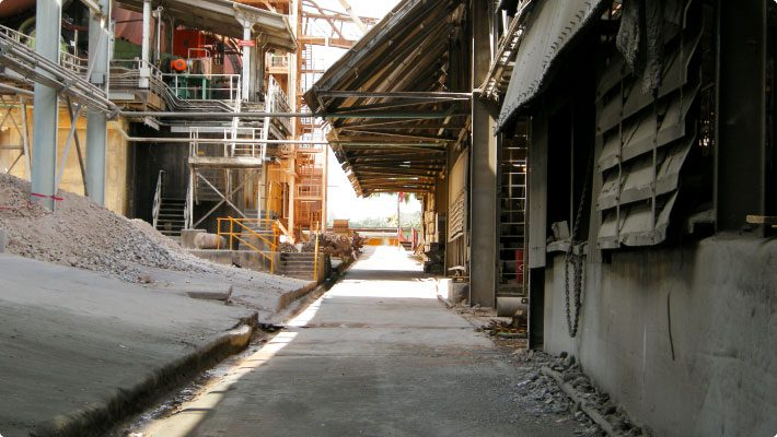 Walkway at limestone crushing facility