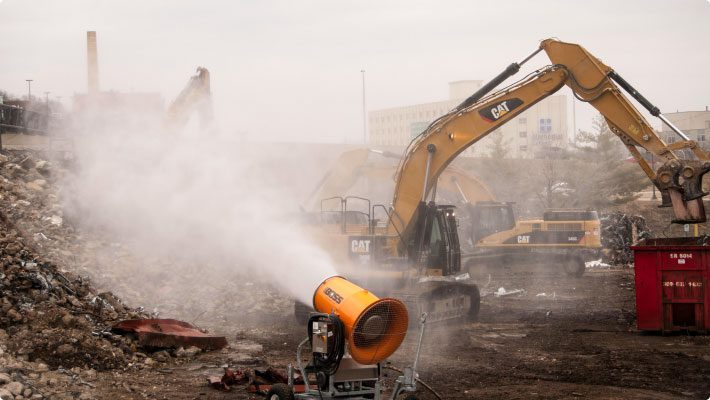 Adamo Demolition Misting Cannon for Dust Control at Hospital