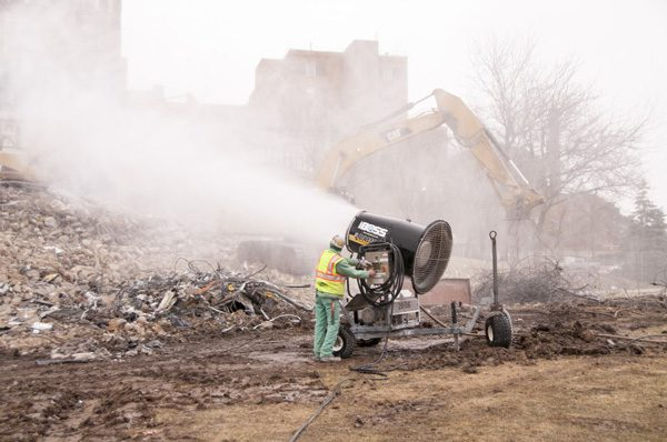 Demolition Dust Suppression Equipment at Hospital Tear Down