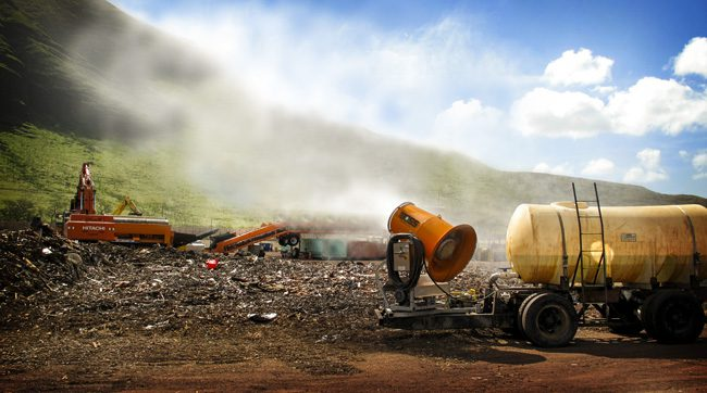 Tropical landfill odor control