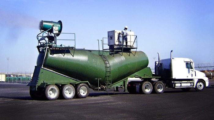 dust control cannon mounted on water truck