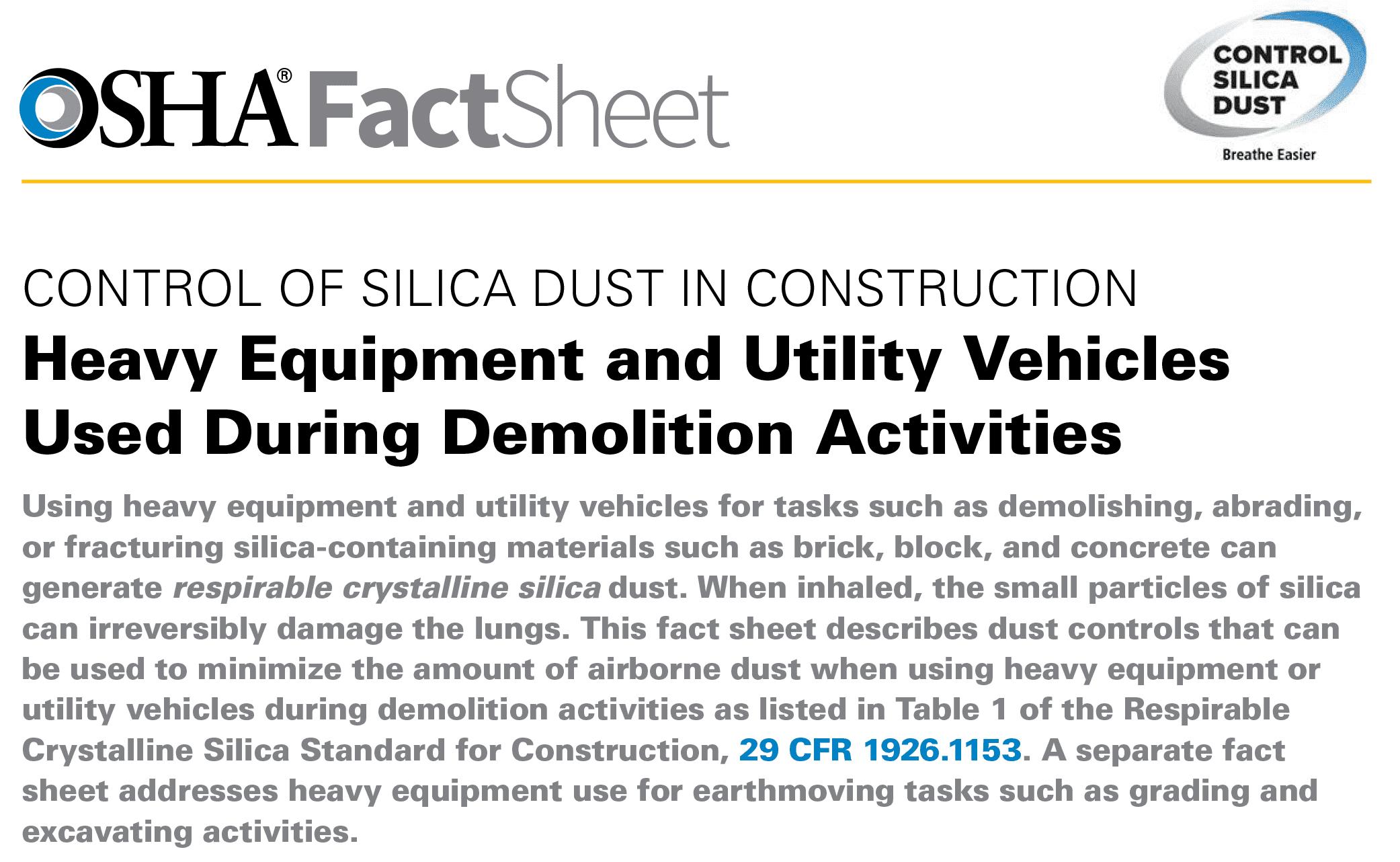 OSHA Silica Fact Sheet