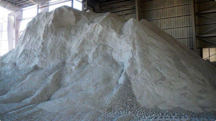 Gypsum stockpile indoors