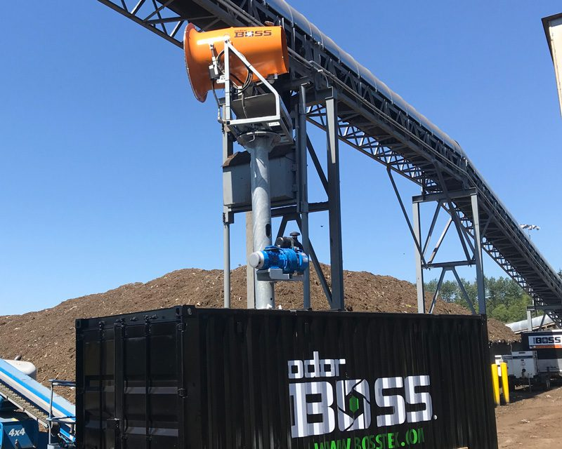 Elevated OdorBoss odor control tower system for composting