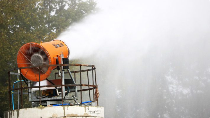 DustBoss DB-60 throwing mist for dust suppression