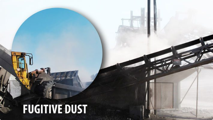 Fugitive dust meaning with conveyors in background