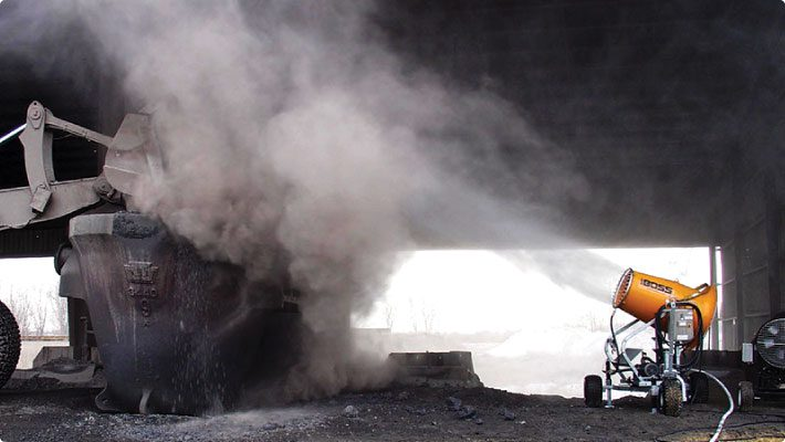 Misting cannon removing dust from the air at coal mine