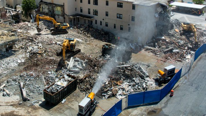 Dust control systems working together at hospital demolition