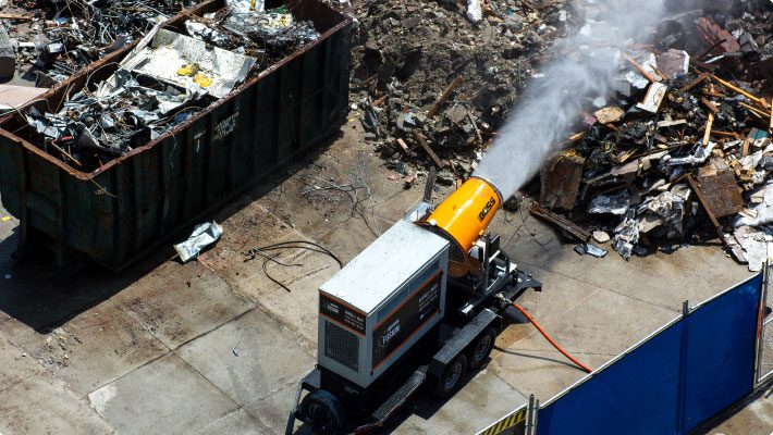 Self powered dust control system at demolition site