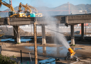Bridge Demolition in California uses DustBoss Misting Cannon for Dust Supression