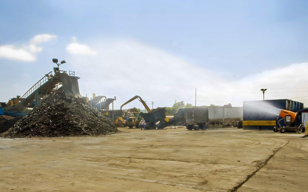 DB-60 Mist Cannons for Mobile Dust Control in Scrap Recycling