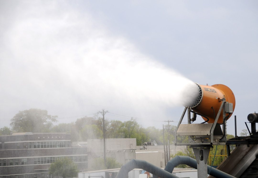 Dust Cannon for Tower Mounted Suppression in Scrap Metal Recycling