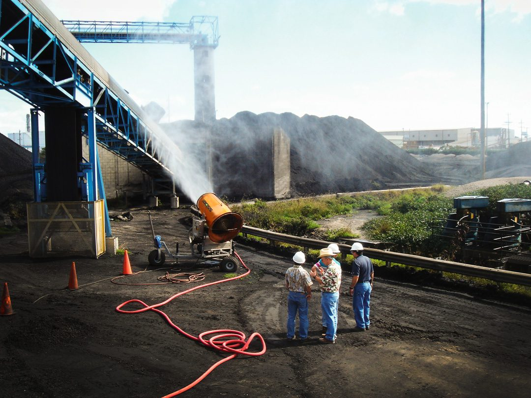 DustBoss Misting Cannon for Coal Dust Suppression at Power Plant