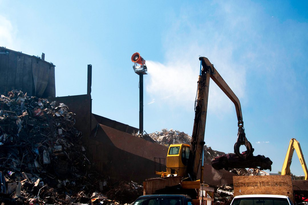 DustBoss Tower Dust Control in Scrap Metal Recycling