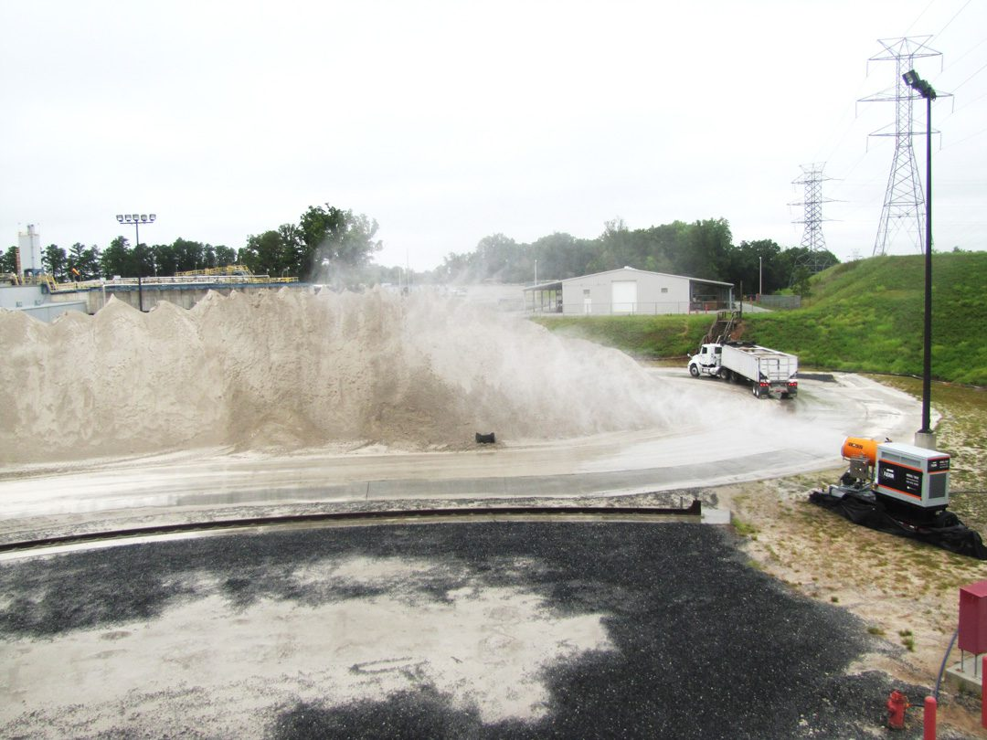 Stockpile Dust Control Using DustBoss DB-60 Fusion Misting Cannon System