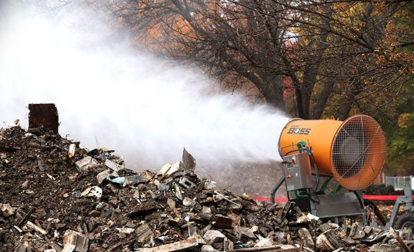 Atomized mist from DustBoss DB-60 for Silica Dust Compliance