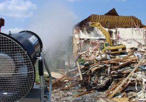 Dust suppression at hotel demolition